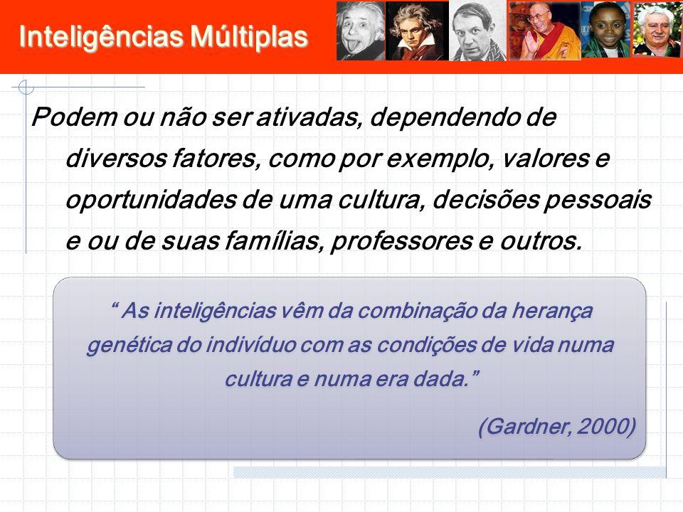 Inteligências Múltiplas Podem ou não ser ativadas, dependendo de diversos fatores, como por exemplo, valores e oportunidades de uma cultura, decisões