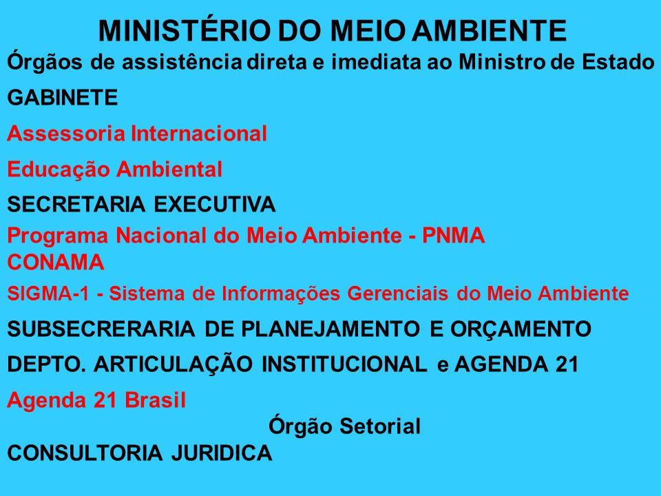 Órgãos Específicos Singulares SECRETARIA DE QUALIDADE AMBIENTAL NOS ASSENTAMENTOS HUMANOS SECRETARIA DE BIODIVERSIDADE E FLORESTAS SECRETARIA DE RECURSOS HÍDRICOS SECRETARIA DE POLÍTICAS PARA O DESENVOLVIMENTO SUSTENTÁVEL SECRETARIA DE COORDENAÇÃO DA AMAZÔNIA