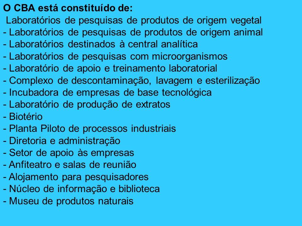 O CBA está constituído de: Laboratórios de pesquisas de produtos de origem vegetal - Laboratórios de pesquisas de produtos de origem animal - Laborató