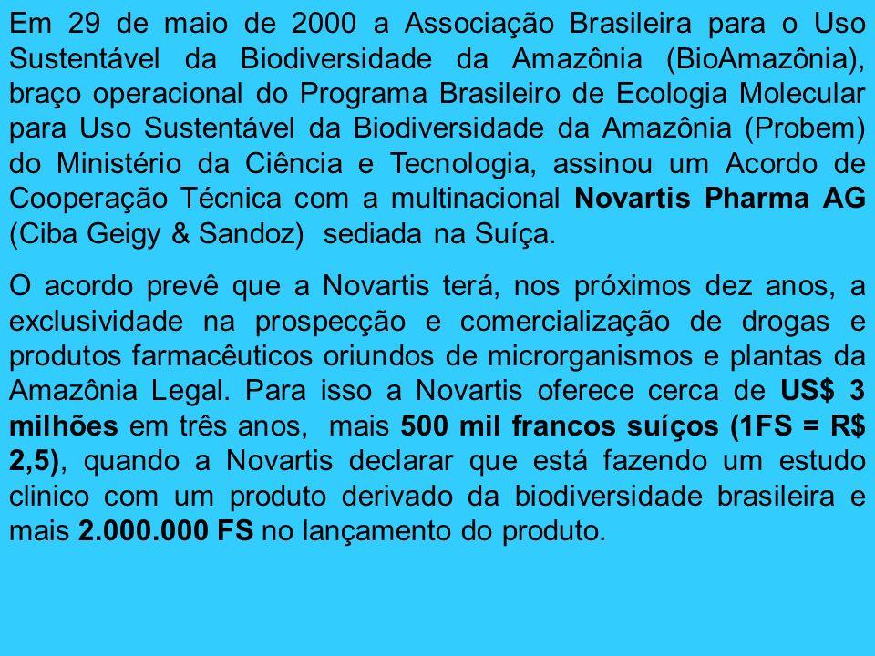 Em 29 de maio de 2000 a Associação Brasileira para o Uso Sustentável da Biodiversidade da Amazônia (BioAmazônia), braço operacional do Programa Brasil