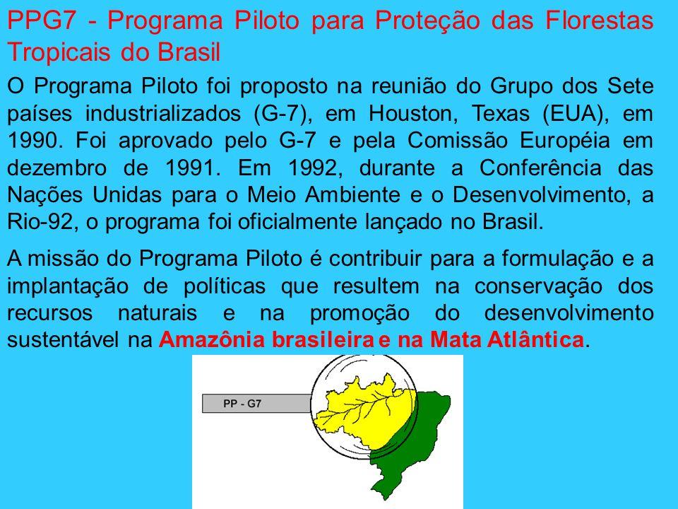 PPG7 - Programa Piloto para Proteção das Florestas Tropicais do Brasil O Programa Piloto foi proposto na reunião do Grupo dos Sete países industrializ