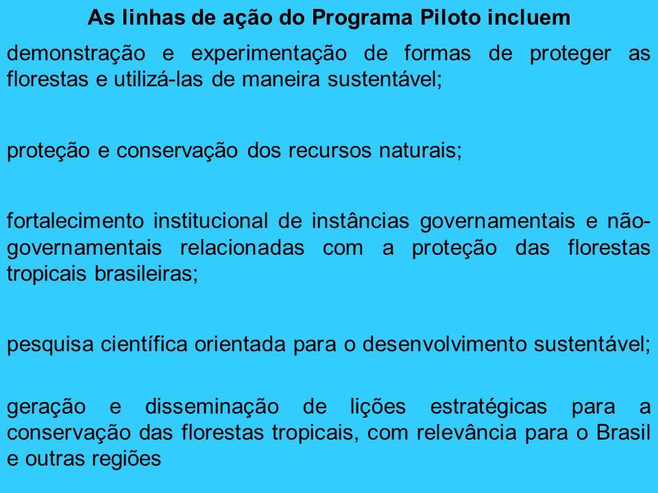 As linhas de ação do Programa Piloto incluem demonstração e experimentação de formas de proteger as florestas e utilizá-las de maneira sustentável; pr