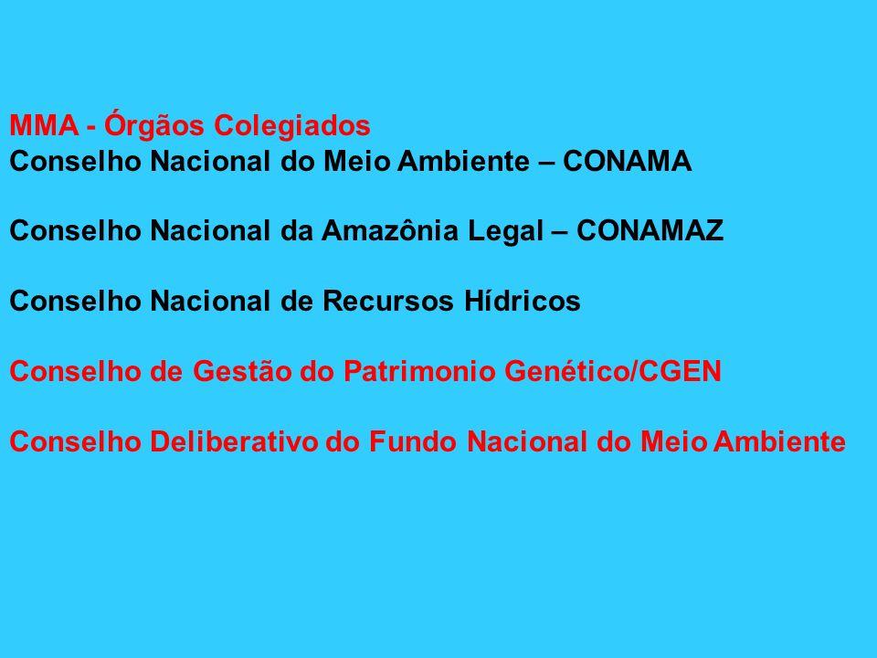 MMA - Órgãos Colegiados Conselho Nacional do Meio Ambiente – CONAMA Conselho Nacional da Amazônia Legal – CONAMAZ Conselho Nacional de Recursos Hídric