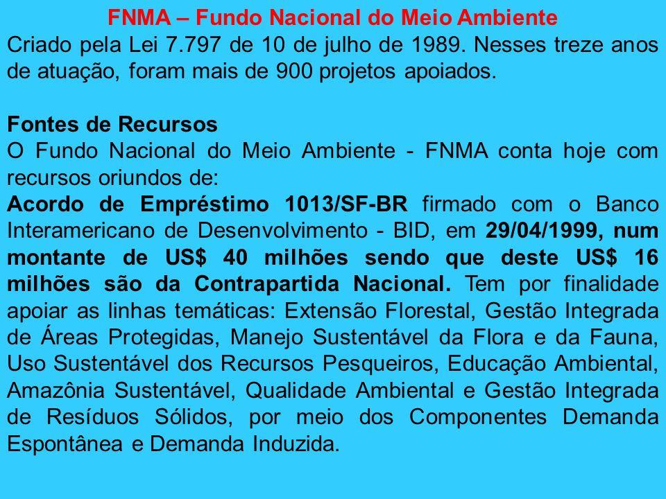 FNMA – Fundo Nacional do Meio Ambiente Criado pela Lei 7.797 de 10 de julho de 1989. Nesses treze anos de atuação, foram mais de 900 projetos apoiados