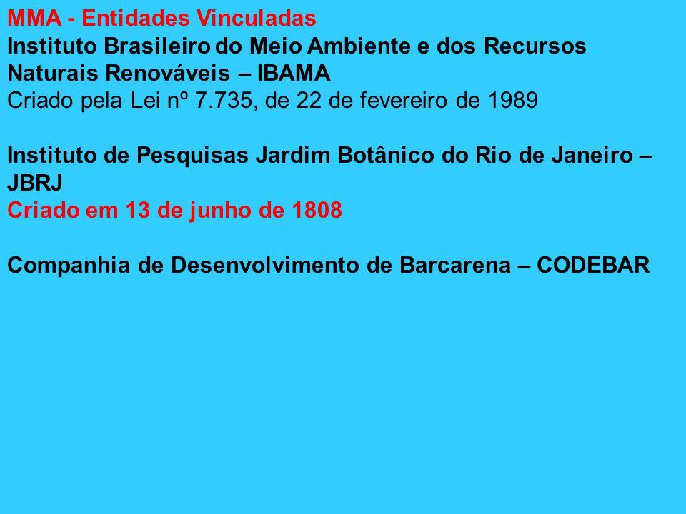 MMA - Entidades Vinculadas Instituto Brasileiro do Meio Ambiente e dos Recursos Naturais Renováveis – IBAMA Criado pela Lei nº 7.735, de 22 de feverei