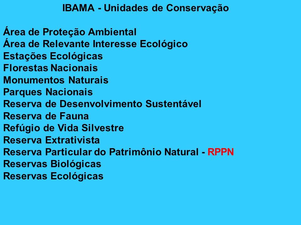 IBAMA - Unidades de Conservação Área de Proteção Ambiental Área de Relevante Interesse Ecológico Estações Ecológicas Florestas Nacionais Monumentos Na