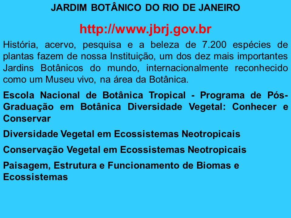 JARDIM BOTÂNICO DO RIO DE JANEIRO http://www.jbrj.gov.br História, acervo, pesquisa e a beleza de 7.200 espécies de plantas fazem de nossa Instituição