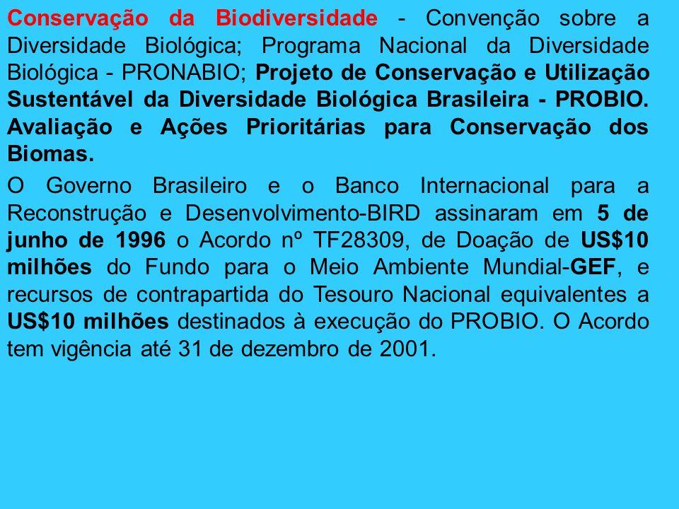 Conservação da Biodiversidade - Convenção sobre a Diversidade Biológica; Programa Nacional da Diversidade Biológica - PRONABIO; Projeto de Conservação