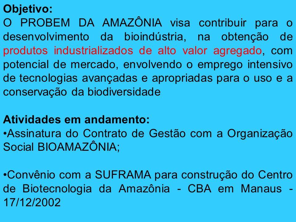 Objetivo: O PROBEM DA AMAZÔNIA visa contribuir para o desenvolvimento da bioindústria, na obtenção de produtos industrializados de alto valor agregado