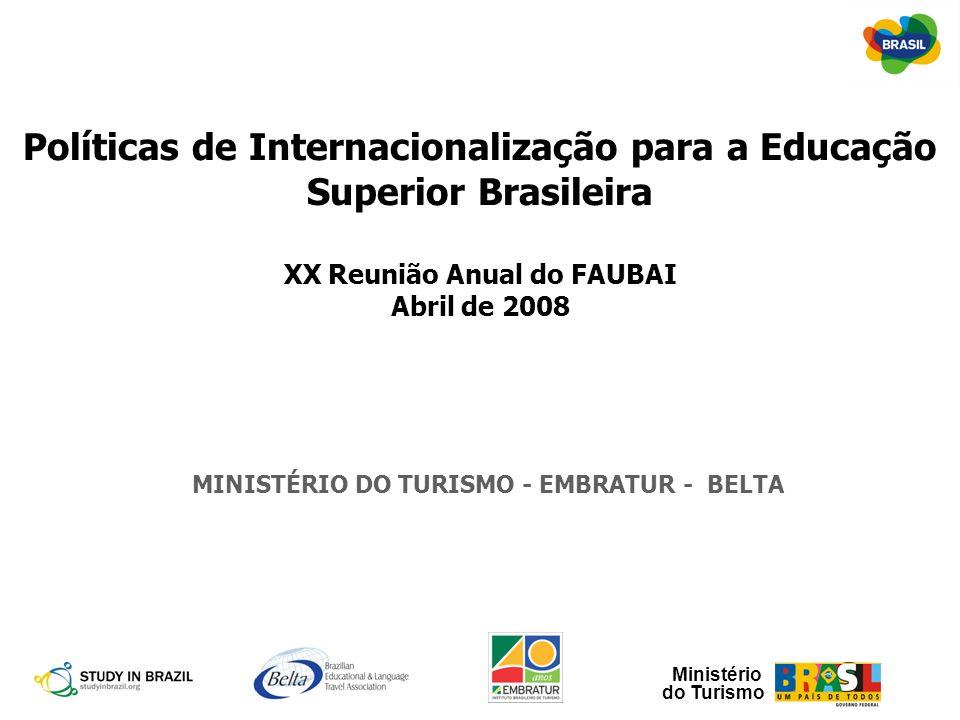 Ministério do Turismo Políticas de Internacionalização para a Educação Superior Brasileira XX Reunião Anual do FAUBAI Abril de 2008 MINISTÉRIO DO TURI