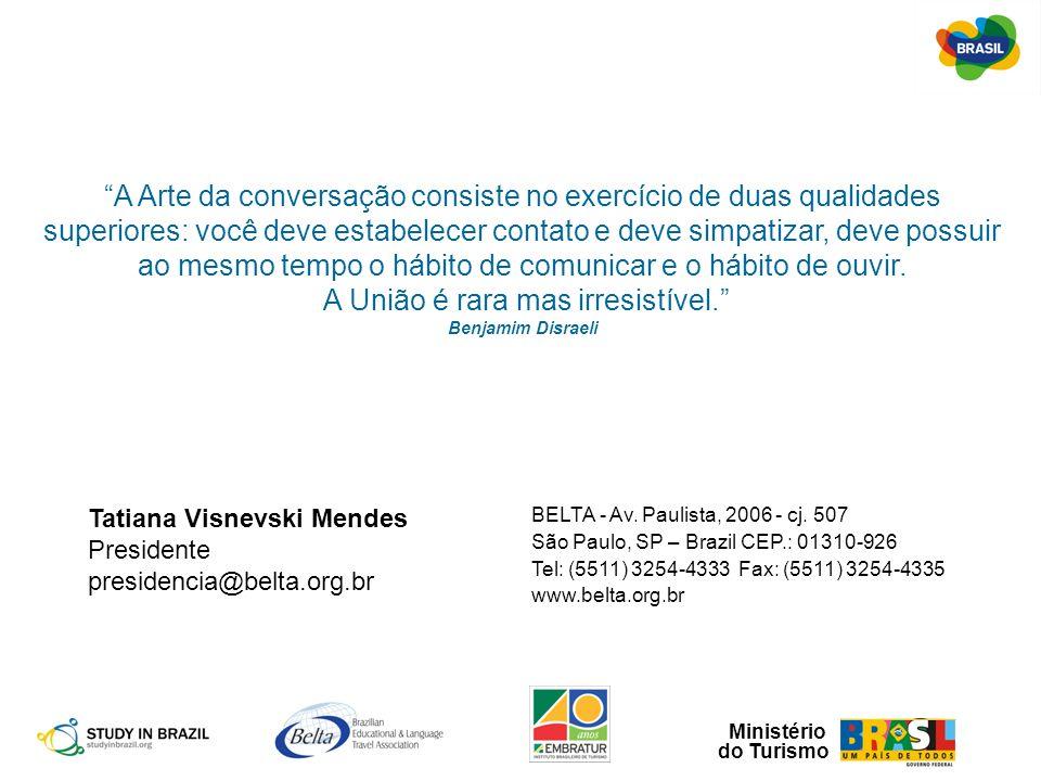 Ministério do Turismo Tatiana Visnevski Mendes Presidente presidencia@belta.org.br BELTA - Av. Paulista, 2006 - cj. 507 São Paulo, SP – Brazil CEP.: 0