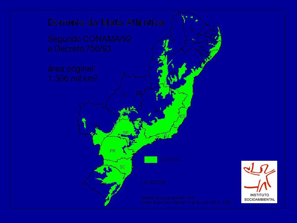Segundo CONAMA/92 e Decreto 750/93 área original: 1.306 mil km 2