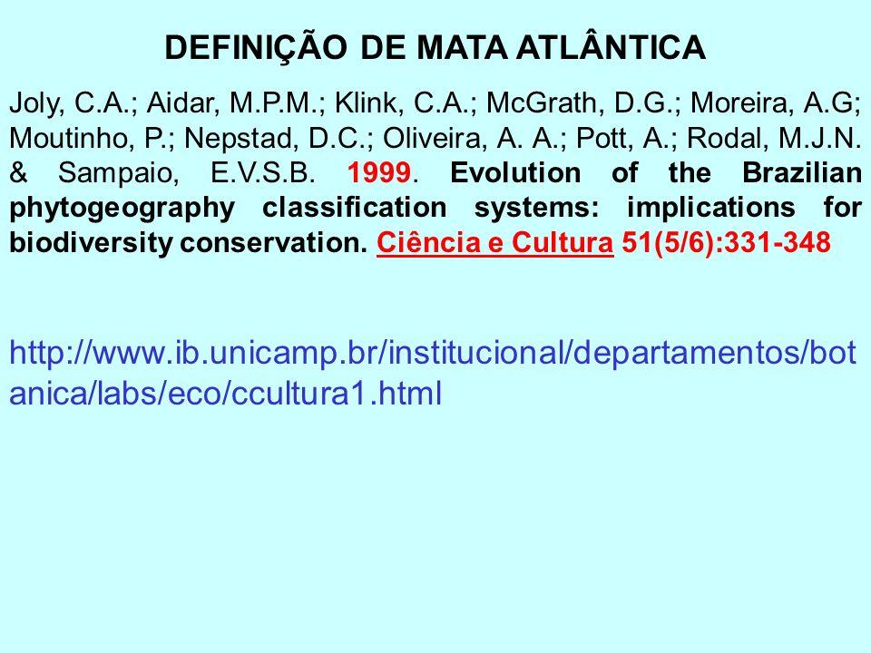 DEFINIÇÃO DE MATA ATLÂNTICA Joly, C.A.; Aidar, M.P.M.; Klink, C.A.; McGrath, D.G.; Moreira, A.G; Moutinho, P.; Nepstad, D.C.; Oliveira, A. A.; Pott, A