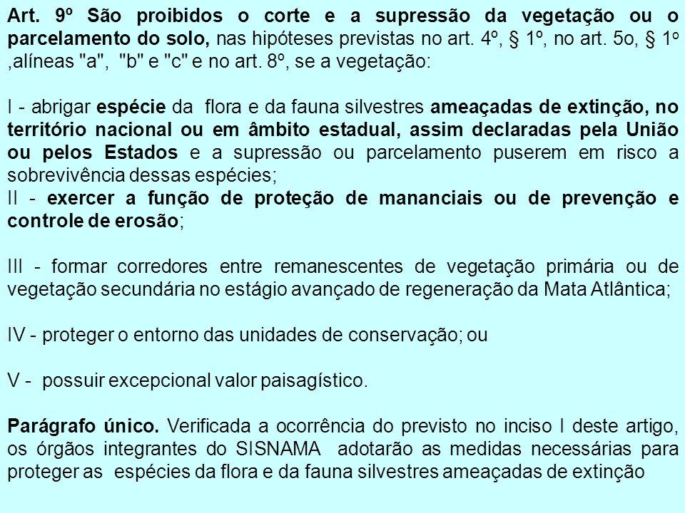 Art. 9º São proibidos o corte e a supressão da vegetação ou o parcelamento do solo, nas hipóteses previstas no art. 4º, § 1º, no art. 5o, § 1 o,alínea