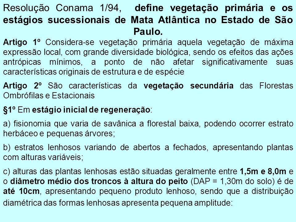 Resolução Conama 1/94, define vegetação primária e os estágios sucessionais de Mata Atlântica no Estado de São Paulo. Artigo 1º Considera-se vegetação