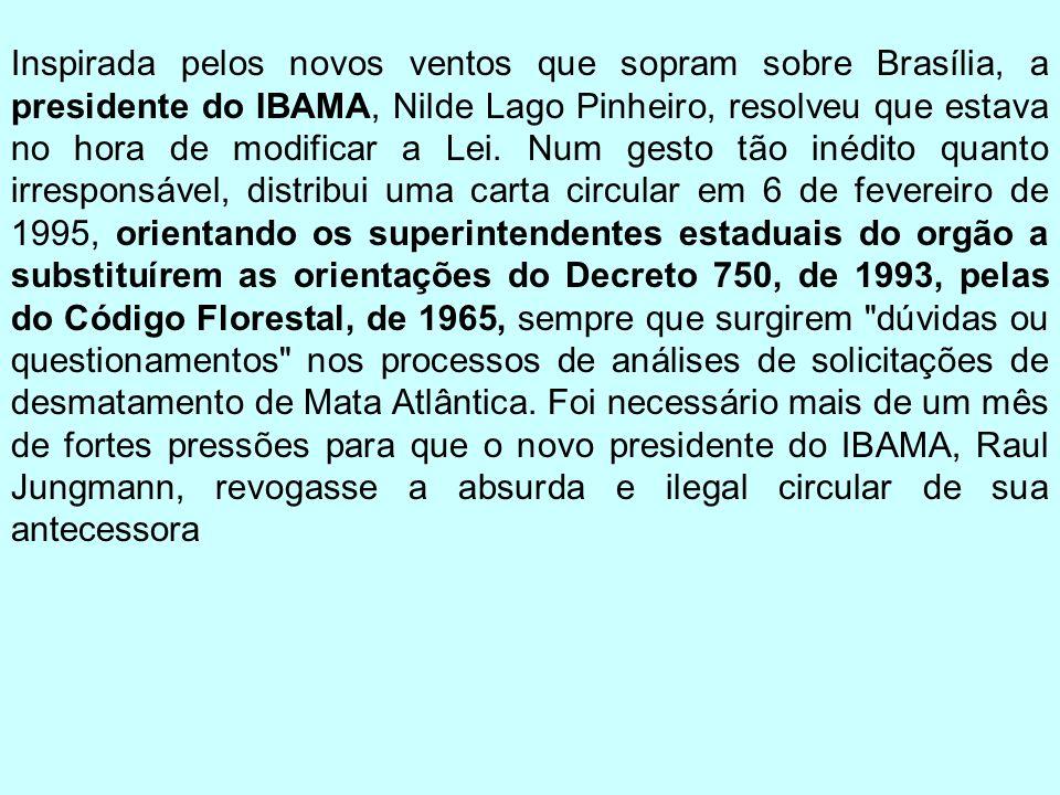 Inspirada pelos novos ventos que sopram sobre Brasília, a presidente do IBAMA, Nilde Lago Pinheiro, resolveu que estava no hora de modificar a Lei. Nu
