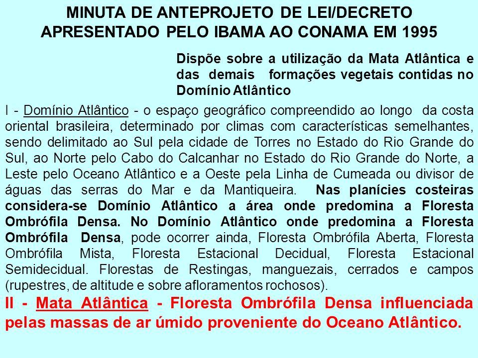 MINUTA DE ANTEPROJETO DE LEI/DECRETO APRESENTADO PELO IBAMA AO CONAMA EM 1995 Dispõe sobre a utilização da Mata Atlântica e das demais formações veget