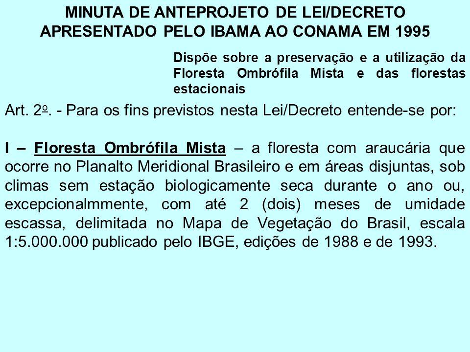 MINUTA DE ANTEPROJETO DE LEI/DECRETO APRESENTADO PELO IBAMA AO CONAMA EM 1995 Dispõe sobre a preservação e a utilização da Floresta Ombrófila Mista e