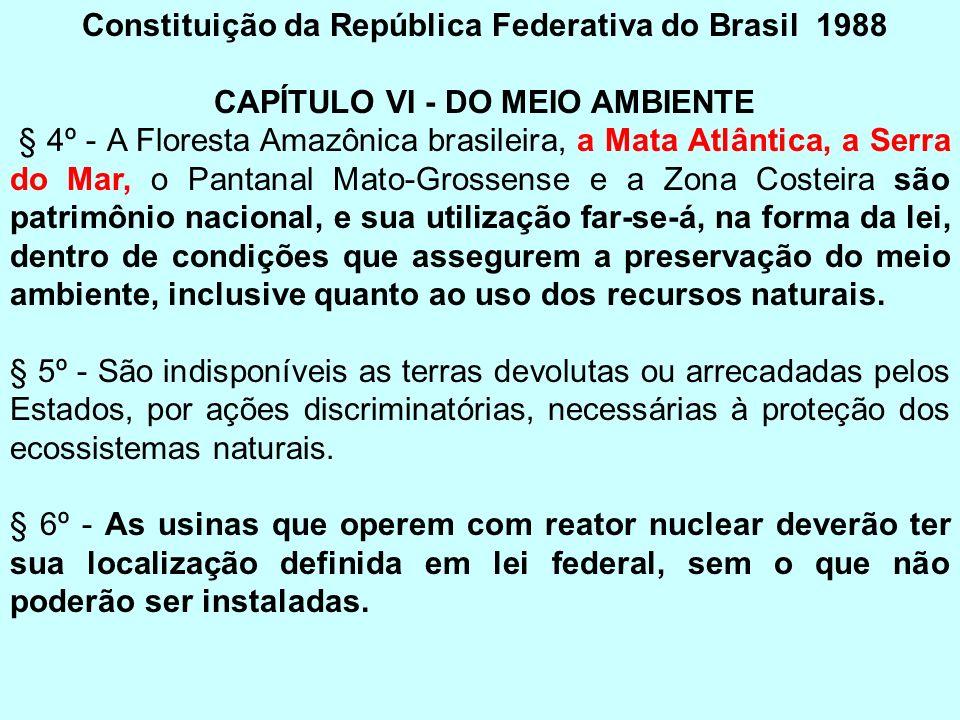 Constituição da República Federativa do Brasil 1988 CAPÍTULO VI - DO MEIO AMBIENTE § 4º - A Floresta Amazônica brasileira, a Mata Atlântica, a Serra d