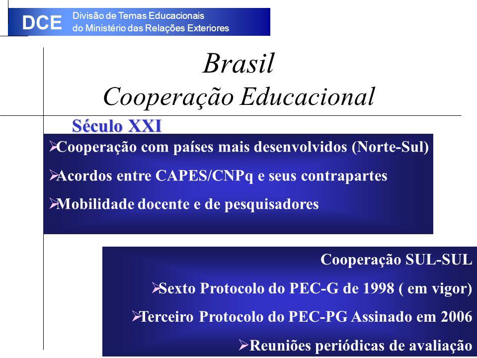 Divisão de Temas Educacionais do Ministério das Relações Exteriores DCE Brasil Cooperação Educacional Século XXI Cooperação SUL-SUL Sexto Protocolo do PEC-G de 1998 ( em vigor) Terceiro Protocolo do PEC-PG Assinado em 2006 Reuniões periódicas de avaliação Cooperação com países mais desenvolvidos (Norte-Sul) Acordos entre CAPES/CNPq e seus contrapartes Mobilidade docente e de pesquisadores