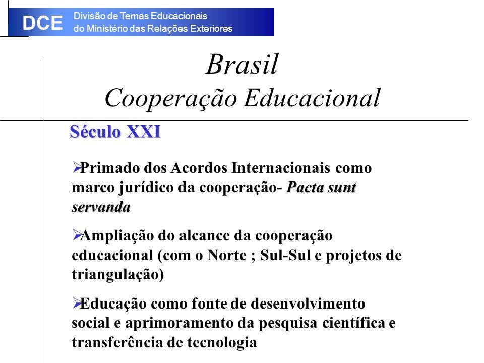 Divisão de Temas Educacionais do Ministério das Relações Exteriores DCE Brasil Cooperação Educacional Século XXI Pacta sunt servanda Primado dos Acordos Internacionais como marco jurídico da cooperação- Pacta sunt servanda Ampliação do alcance da cooperação educacional (com o Norte ; Sul-Sul e projetos de triangulação) Educação como fonte de desenvolvimento social e aprimoramento da pesquisa científica e transferência de tecnologia