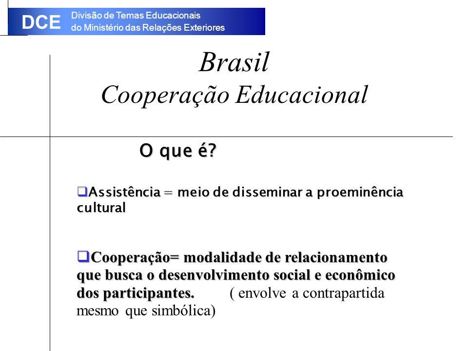 Divisão de Temas Educacionais do Ministério das Relações Exteriores DCE Brasil Cooperação Educacional O que é.