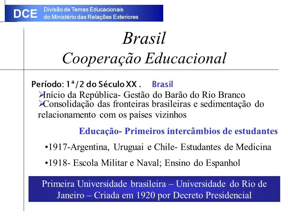Divisão de Temas Educacionais do Ministério das Relações Exteriores DCE Brasil Cooperação Educacional Período: 1ª/2 do Século XX.