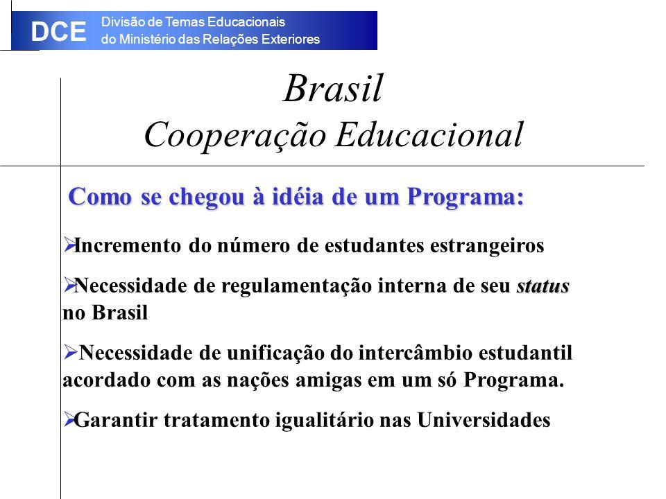 Divisão de Temas Educacionais do Ministério das Relações Exteriores DCE Brasil Cooperação Educacional Incremento do número de estudantes estrangeiros status Necessidade de regulamentação interna de seu status no Brasil Necessidade de unificação do intercâmbio estudantil acordado com as nações amigas em um só Programa.