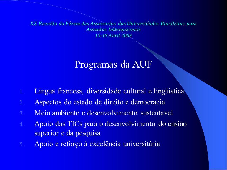 XX Reunião do Fórum das Assessorias das Universidades Brasileiras para Assuntos Internacionais 15-18 Abril 2008 Programas da AUF 1.