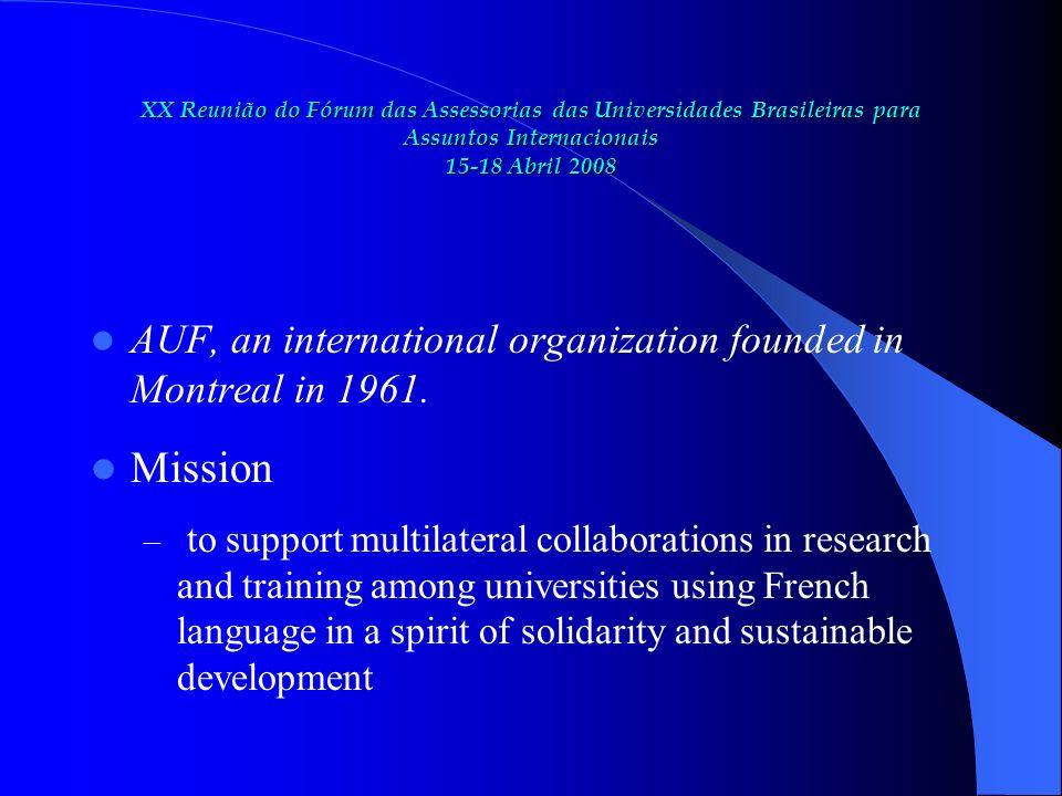 XX Reunião do Fórum das Assessorias das Universidades Brasileiras para Assuntos Internacionais 15-18 Abril 2008 Strategic indicators of AUF Impact on development (2006)