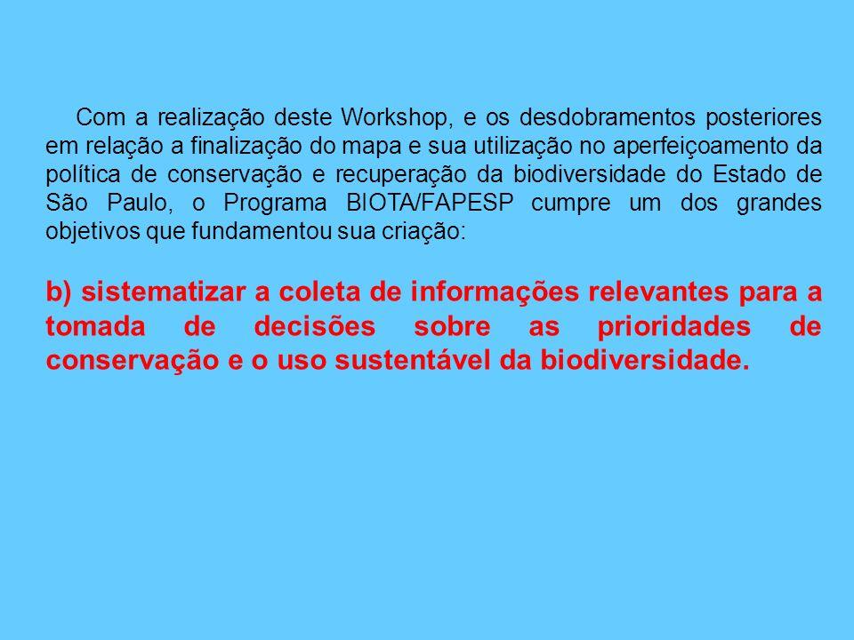 O propósito desse Workshop é a utilização das ferramentas e dos dados gerados pelo Programa BIOTA/FAPESP para, em parceria com a comunidade científica
