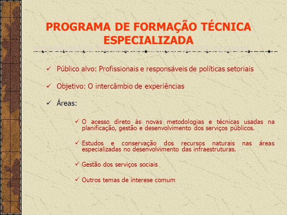 PROGRAMA DE FORMAÇÃO TÉCNICA ESPECIALIZADA Público alvo: Profissionais e responsáveis de políticas setoriais Objetivo: O intercâmbio de experiências Á