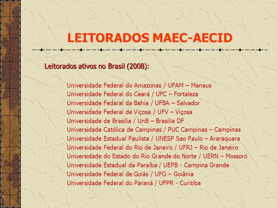 Leitorados ativos no Brasil (2008): Universidade Federal do Amazonas / UFAM – Manaus Universidade Federal do Ceará / UFC – Fortaleza Universidade Feda
