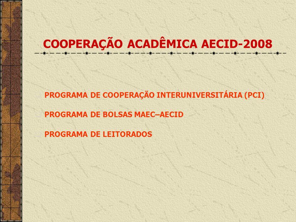 PROGRAMA DE FORMAÇÃO TÉCNICA ESPECIALIZADA Durante todo o ano são oferecidos cursos de curta duração, seminários e jornadas em diversas áreas do conhecimento celebrados na Espanha, en convênio com várias instituções públicas, e nos 3 Centros de Formação da AECID localizados em: - Bolivia - Colombia - Guatemala www.becasmae.es/pifte