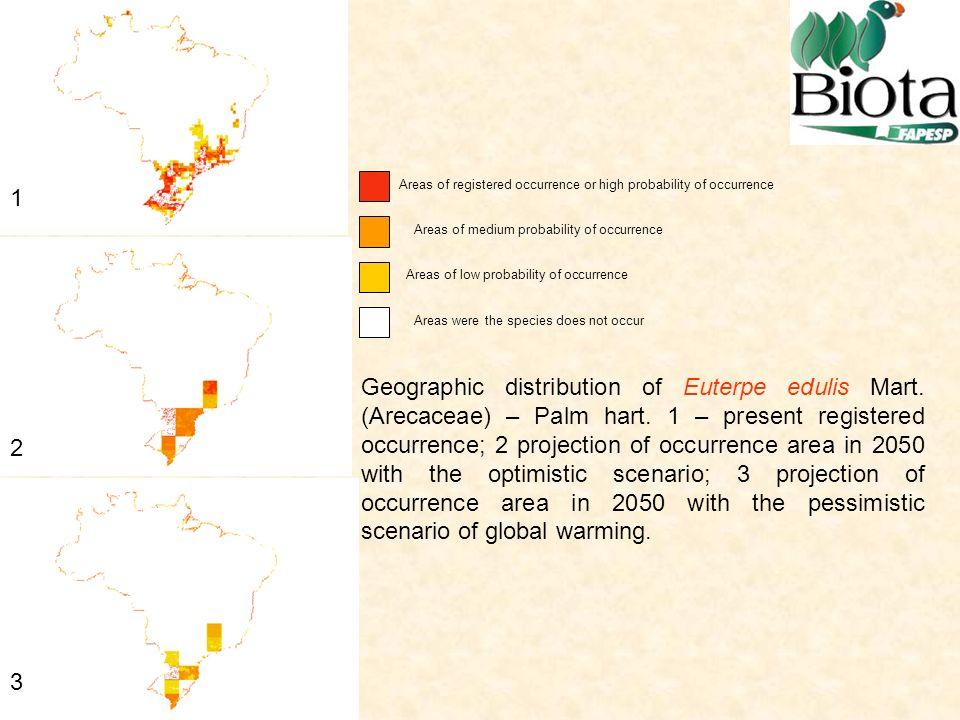 Geographic distribution of Euterpe edulis Mart.(Arecaceae) – Palm hart.