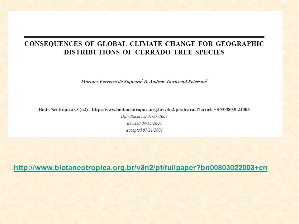 - 65% Geographic distribution of Mata Atlântica sensu lato in 2050 with the pessimistic scenario.
