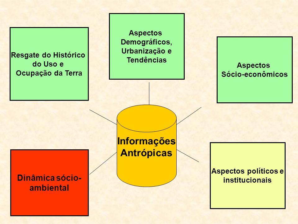 Informações Antrópicas Resgate do Histórico do Uso e Ocupação da Terra Aspectos Sócio-econômicos Aspectos políticos e institucionais Aspectos Demográficos, Urbanização e Tendências Dinâmica sócio- ambiental