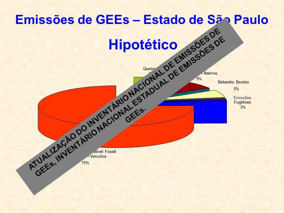 Queima de Combustível Fóssil Industria + Veículos 75% Emissões Fugitivas 3% Rebanho Bovino 5% Metano – Aterros 9% Queimadas 8% Emissões de GEEs – Estado de São Paulo Hipotético ATUALIZAÇÃO DO INVENTÁRIO NACIONAL DE EMISSÕES DE GEEs, INVENTÁRIO NACIONAL ESTADUAL DE EMISSÕES DE GEEs.