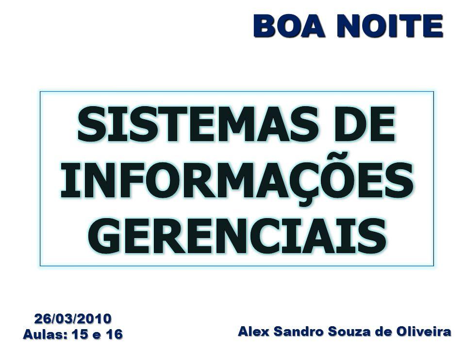 BOA NOITE Alex Sandro Souza de Oliveira 26/03/2010 Aulas: 15 e 16