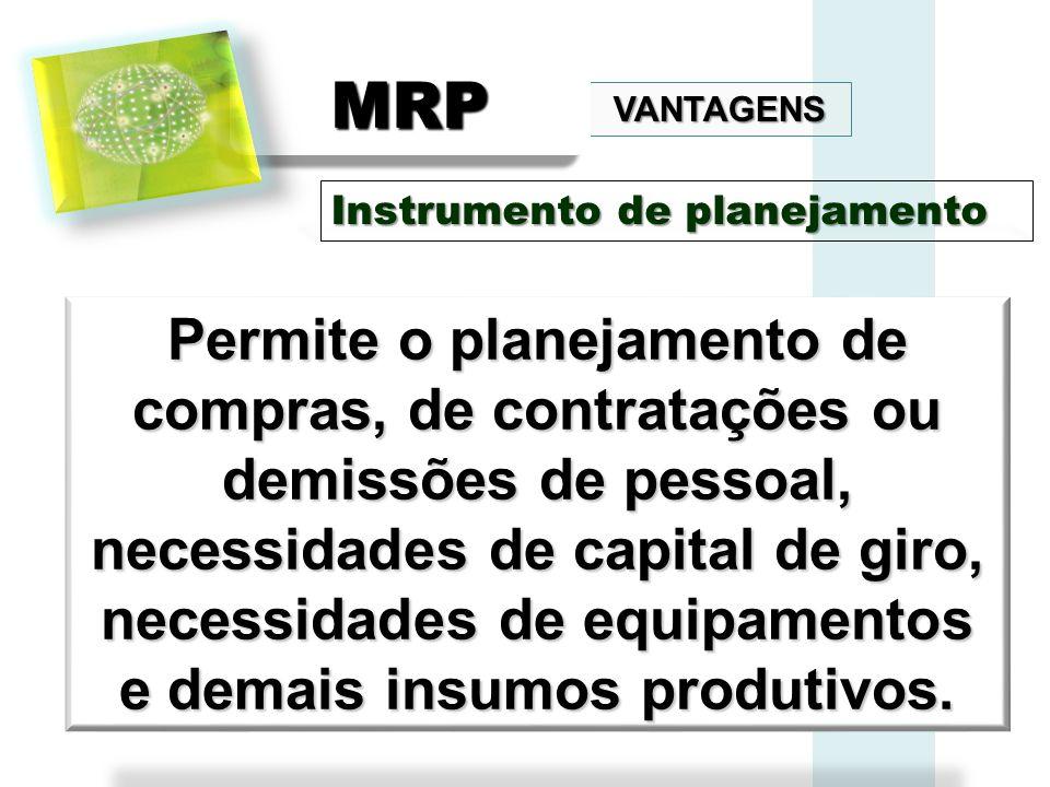 VANTAGENS MRPMRP Permite o planejamento de compras, de contratações ou demissões de pessoal, necessidades de capital de giro, necessidades de equipame
