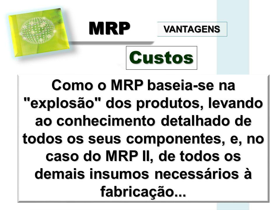 VANTAGENS MRPMRP Como o MRP baseia-se na