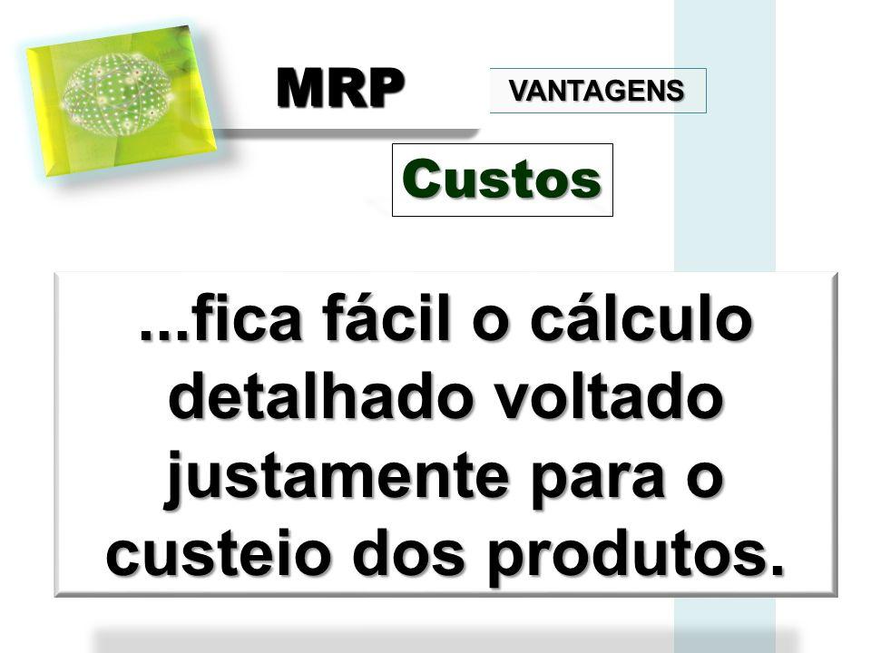 VANTAGENS MRPMRP...fica fácil o cálculo detalhado voltado justamente para o custeio dos produtos. Custos