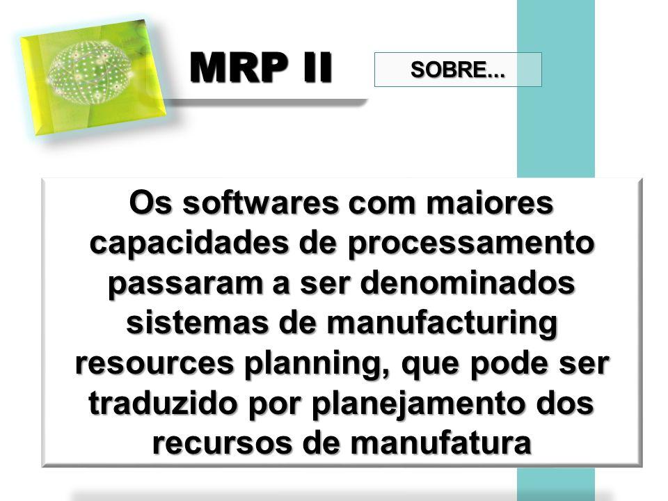 MRP II Os softwares com maiores capacidades de processamento passaram a ser denominados sistemas de manufacturing resources planning, que pode ser tra