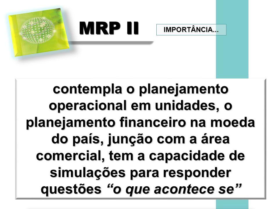 MRP II contempla o planejamento operacional em unidades, o planejamento financeiro na moeda do país, junção com a área comercial, tem a capacidade de