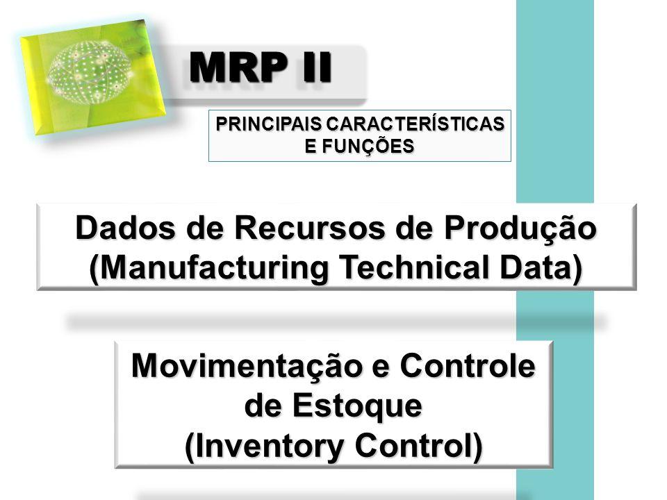 MRP II Dados de Recursos de Produção (Manufacturing Technical Data) PRINCIPAIS CARACTERÍSTICAS E FUNÇÕES Movimentação e Controle de Estoque (Inventory