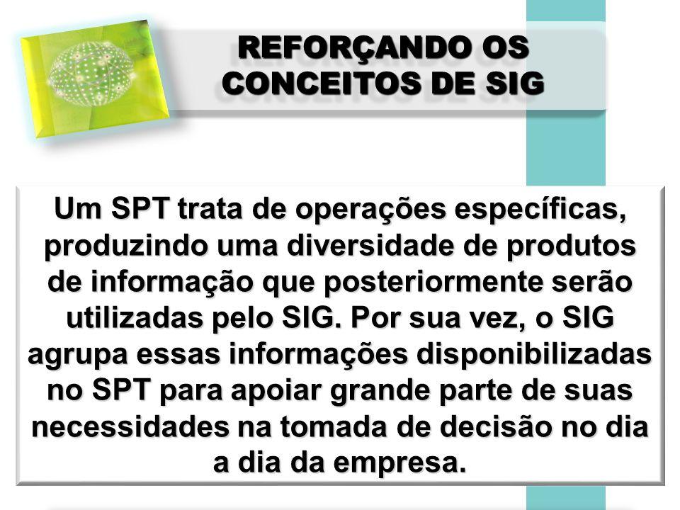 REFORÇANDO OS CONCEITOS DE SIG Um SPT trata de operações específicas, produzindo uma diversidade de produtos de informação que posteriormente serão ut