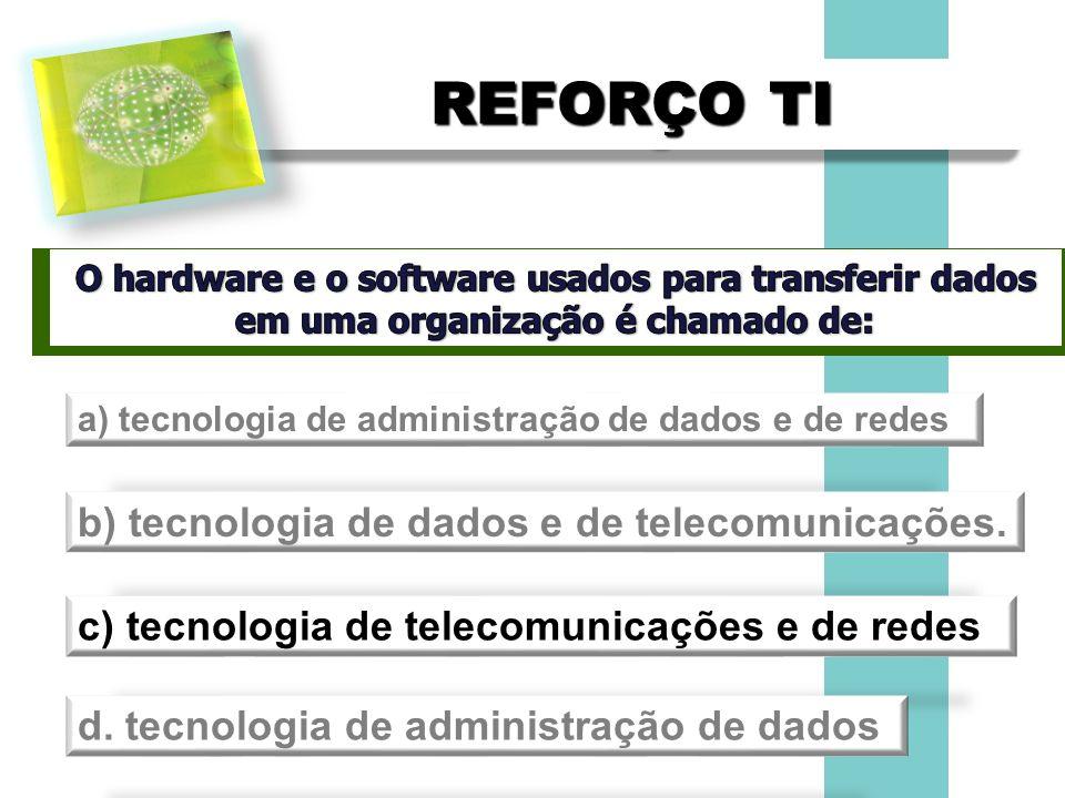 REFORÇO TI a) tecnologia de administração de dados e de redes b) tecnologia de dados e de telecomunicações. c) tecnologia de telecomunicações e de red