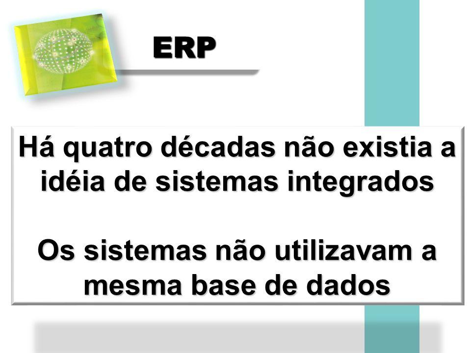 ERPERP Há quatro décadas não existia a idéia de sistemas integrados Os sistemas não utilizavam a mesma base de dados