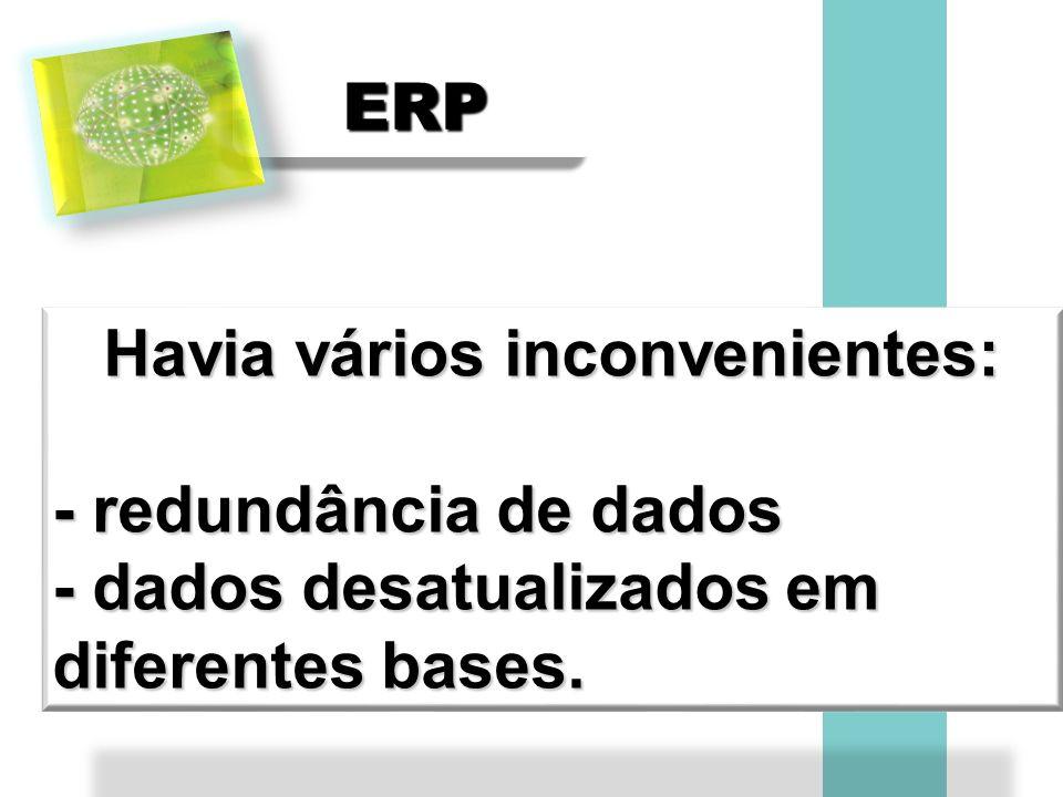 ERPERP Havia vários inconvenientes: - redundância de dados - dados desatualizados em diferentes bases.