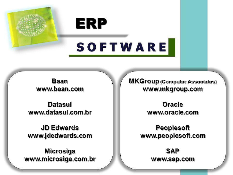 ERPERP Baanwww.baan.comDatasulwww.datasul.com.br JD Edwards www.jdedwards.comMicrosigawww.microsiga.com.br MKGroup (Computer Associates) www.mkgroup.c